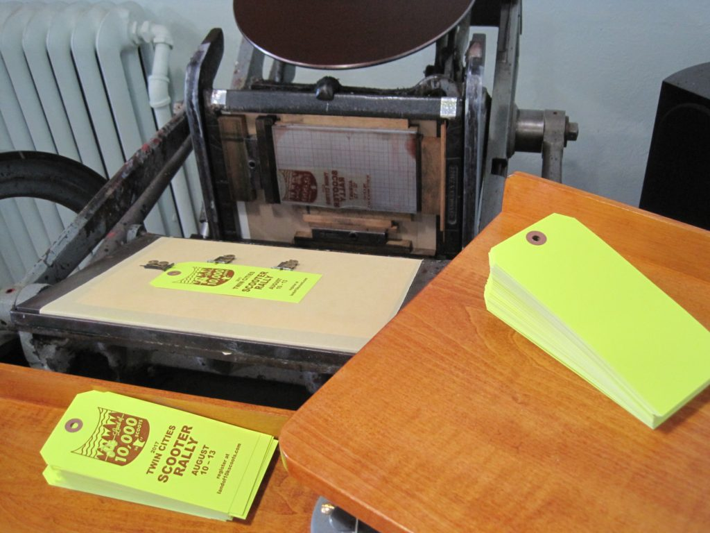 Nomadic Press prints the hang tags for the 2017 Land of 10K Scoots Twin Cities scooter rally.