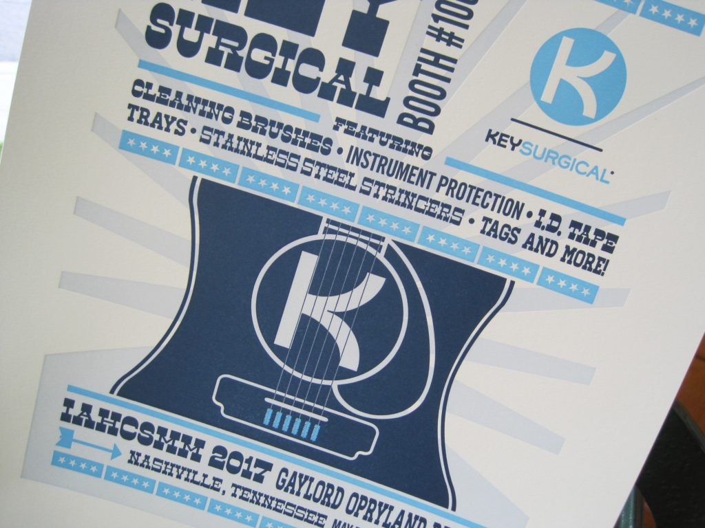Poster for a surgical implaments company in the style of Hatch Show Print